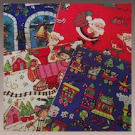 Vintage Christmas Wrapping Paper Four Patterns with Two Sheets each C 1960s