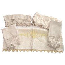 Hand Made Crochet Pillow Case Inserts Four Pair  Tatting
