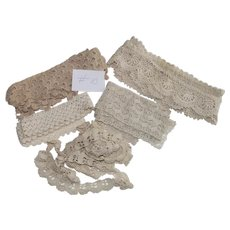 Hand Crochet Lace Edging Inserts - Five Pieces of Different Lengths