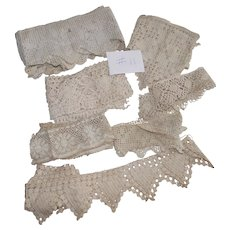 Vintage Group of Home Made Crochet lace Yardages