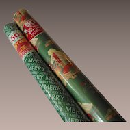 Vintage Two Rolls Wide Christmas Wrapping Paper