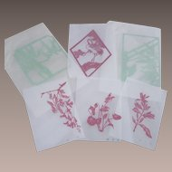 Extraordinary Vintage Oriental Paper Cuts Six Piece