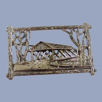 Covered Bridge Brooch Sterling Silver by Beau