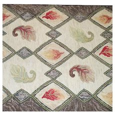 Large Hand Hooked Rug from New Hampshire Circa 1930s  Autumn Theme  Stunning