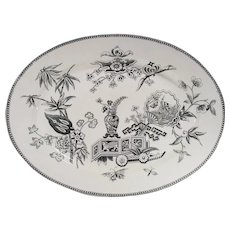 Aesthetic Movement Turkey Size Platter Lily and Vase Pattern  by Thomas Elsmore & Son