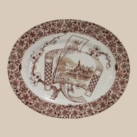 Copeland Aesthetic Movement Large Brown and White Platter in Cairo Pattern