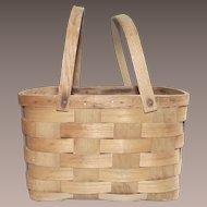 Vintage Large Square Open Top Splint Picnic Basket