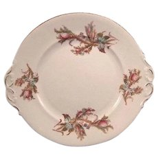 English Moss Rose Dessert Cake Plate with Pink Roses