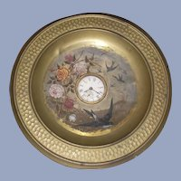 Victorian Roses and Swallows Oil Painting on a Brass Tray with Clock