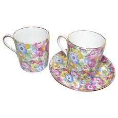 Vintage English Chintz Demi Tasse Cup and Saucer  Collingwood