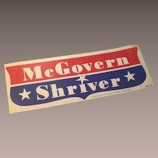 1972 McGovern Shriver for President Bumper Sticker