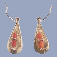 Victorian Gold Fill Earrings with Branch Coral