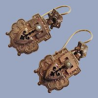 High Victorian 1860s-1870s Door Knocker Earrings with Enameling and Pearls