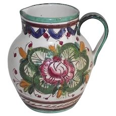 Vintage Italian Fiancé Pitcher Large Hand Incised Greens Blues and Rose