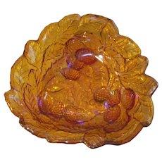 Marigold Carnival Glass Indiana Grape & Leaf Bowl  Loganberry Pattern