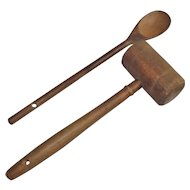 Old Wooden Meat Mallet and Wooden Spoon