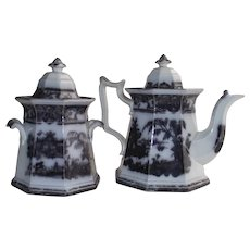 Mulberry Ironstone Corean Tea or Coffee Pot and Covered Sugar circa 1834 – 1859