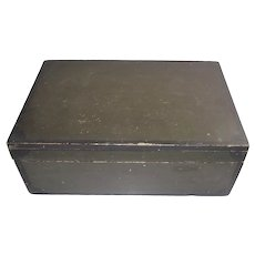 New England Pine Document Box c1850 Original Olive and Black Decorative Paint