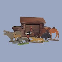 Folk Art Noah's Ark with Animals and Provenance Hand Made 1935
