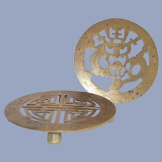 Chinese Brass Trivets Two Piece - One is Footed
