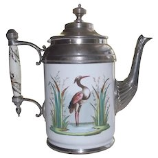 Victorian Enamel & Pewter Coffee Pot with Crane in the Rushes