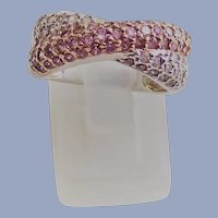 Sterling Pink and Clear CZ's Crossover Band Ring