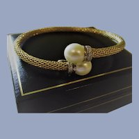 Cultured Pearl By Pass Bangle Bracelet Gold Over Sterling with CZ's