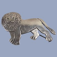 Mexican Sterling Lion Figural Brooch  Artist Signed and Numbered