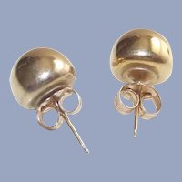 Large 8MM Gold Ball Stud Earrings with 14Kt Gold Butterfly Backs