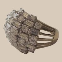 Baguettes and Rounds CZ Cocktail Ring Gold Wash over Sterling