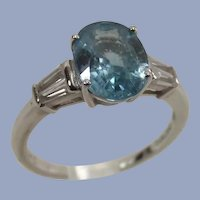 Blue and White Zircon   2.82 Ct. Ring   10 Kt White Gold