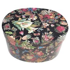Small Oval Band Box Covered in Beautiful Floral Paper