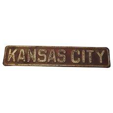 C.1930s Metal Kansas City Road Sign