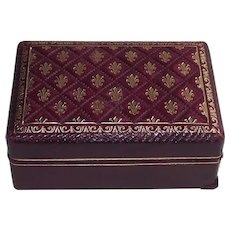 Italian Textured Red Leather Box with Gold Leaf Fleur De Lis Decoration