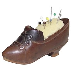 Victorian Small Wooden Ladies Shoe Pin Cushion