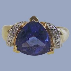 Tanzanite  CZ with Clears set in Gold Wash over Sterling
