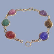 14Kt Yellow Gold Scarab Bracelet with Paper Clip Links