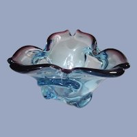 Mid Century Murano Ocean Blue and Purple Bowl