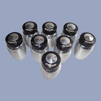Mid Century Kromex Set of Eight Spun Aluminum Spice Jars