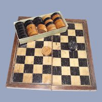 C.1900 Wooden Folding Checkers and Backgammon Board