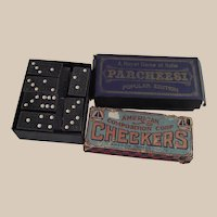 Vintage Parcheesi and Checkers and Dominos   Game Parts