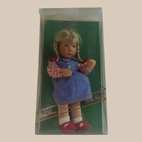 Kathe Kruse Doll Painted Eyes Blonde with Braids Germany 1995 Mint W/ Box