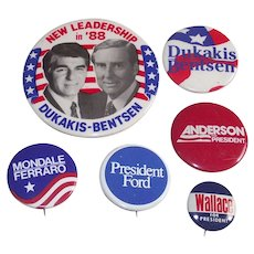 Five Piece Mixed Lot of U.S. Presidential Candidates Pinbacks
