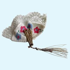 Ginny Doll Hand Fan Pink and Blue Flowers with Lace