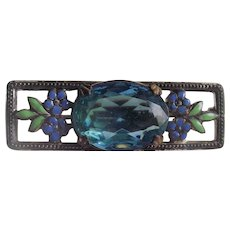 Circa 1920's Enamel and Stone Brooch