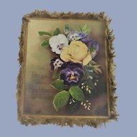 1881 Prang Victorian Silk Fringe Christmas Card with Pansies