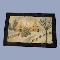 "Circa 1900 Hand Made New Hampshire Hooked Rug ""Cottage in Winter"""