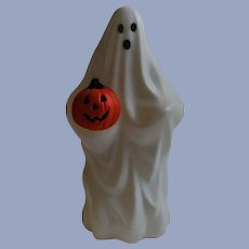 Plastic Blow Mold Ghost Light Holding a Jack O Lantern - JOL