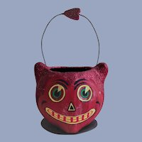Department 56 Halloween Happy Smiling Red Cat Candy Container With Wire Handle