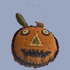 Hand Made Wool Scraps Jack O Lantern - JOL with Wire Bail Handle